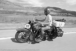 Jeff Lauritsen riding his 1934 Harley-Davidson VLD during stage 11 (289 miles) of the Motorcycle Cannonball Cross-Country Endurance Run, which on this day ran from Grand Junction, CO to Springville, UT., USA. Tuesday, September 16, 2014.  Photography ©2014 Michael Lichter.