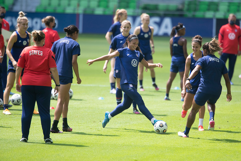 Forward SOPHIA SMITH (c) and members of the United States Women's National Team (USWNT) warm up at the new Q2 soccer stadium in Austin during one of the final games on their road to the 2021 Tokyo  Olympics. The team will play a friendly with Nigeria on Wednesday evening.