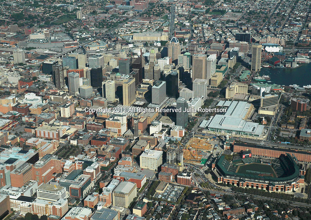 Aerial view of Baltimore Inner Harbor, Maryland<br /> and Camden Yards, home of the Baltimore Orioles