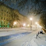 Washington DC Street at night in snowstorm