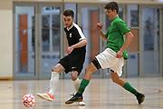 Capital player Luc Saker passes in the Mens Futsal Superleague match, Central v Capital, Pettigrew Green Arena, Napier, Saturday, September 28, 2019. Copyright photo: Kerry Marshall / www.photosport.nz