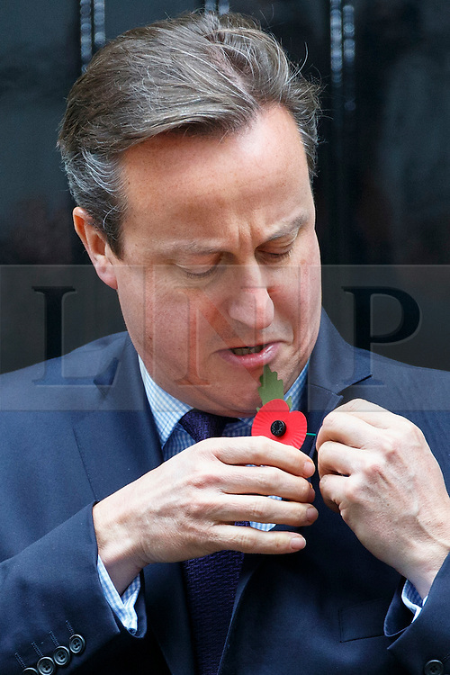 © Licensed to London News Pictures. 22/10/2015. London, UK. Prime Minister David Cameron puts on a Royal British Legion poppy and meets current and former servicemen and women in Downing Street, London on Thursday, 22 October 2015. Photo credit: Tolga Akmen/LNP