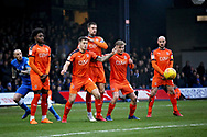 The Luton wall stands firm after this free kick during the EFL Sky Bet League 1 match between Luton Town and Peterborough United at Kenilworth Road, Luton, England on 19 January 2019.