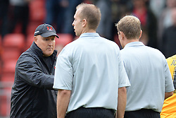 Leyton Orient's manager Russell Slade approaches the Referee Graham Scott after the match   - Photo mandatory by-line: Mitchell Gunn/JMP - Tel: Mobile: 07966 386802 29/09/2013 - SPORT - FOOTBALL -  Matchroom Stadium - London - Leyton Orient v Walsall - Sky Bet League One