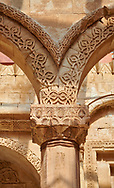 Pillar capital close up of  the 18th Century Ottoman Hareem of the Ishak Pasha Palace (Turkish: İshak Paşa Sarayı) ,  Agrı province of eastern Turkey. .<br /> <br /> If you prefer to buy from our ALAMY PHOTO LIBRARY  Collection visit : https://www.alamy.com/portfolio/paul-williams-funkystock/ishak-pasha-palace-turkey.html<br /> <br /> Visit our TURKEY PHOTO COLLECTIONS for more photos to download or buy as wall art prints https://funkystock.photoshelter.com/gallery-collection/3f-Pictures-of-Turkey-Turkey-Photos-Images-Fotos/C0000U.hJWkZxAbg