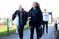 Flo Allen of Bristol City and Katie Robinson of Bristol City arrives at Stoke Gifford Stadium prior to kick off - Mandatory by-line: Ryan Hiscott/JMP - 19/01/2020 - FOOTBALL - Stoke Gifford Stadium - Bristol, England - Bristol City Women v Liverpool Women - Barclays FA Women's Super League