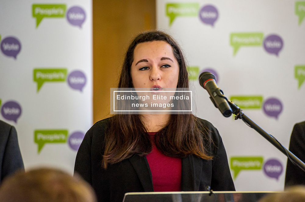 Pictured: Georgie Harris<br /> Scottish launch of the campaign for people across the UK to have the final say on Brexit in a 'People's Vote'. Moderated by the incoming chair of the Chair of the European Movement in Scotland, Mark Lazaowicz, speakers included Dr Kirsty Hughes, director of the Scottish Centre on European Relations; Georgie Harris, Vice President Community of the University of Edinburgh Studenst Association and John Edward, former head of the European Parliament Office in Scotland. <br /> <br /> Ger Harley   EEm Date