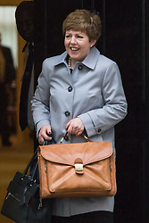 Downing Street, London, May 10th 2016. Leader of the House of Lords, Baroness Tina Stowell leaves the weekly cabinet meeting in Downing Street.