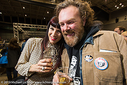 Italian pinstriper Blaster at the Saturday night Pre-Party for the Annual Mooneyes Yokohama Hot Rod and Custom Show. Japan. Saturday, December 6, 2014. Photograph ©2014 Michael Lichter.