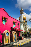 Masjid Sultan mosque and murals on Arab Street in the Malay Heritage District, Singapore, Republic of Singapore