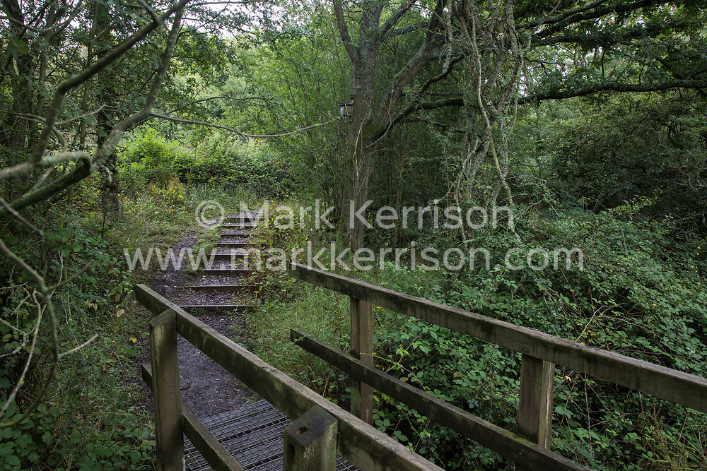 A path winds over a stream and through woodland at Calvert Jubilee Nature Reserve on 27 July 2020 in Calvert, United Kingdom. On 22nd July, the Berks, Bucks and Oxon Wildlife Trust (BBOWT) reported that it had been informed of HS2's intention to take possession of part of Calvert Jubilee nature reserve, which is home to bittern, breeding tern and some of the UK's rarest butterflies, on 28th July to undertake unspecified clearance works in connection with the high-speed rail link.