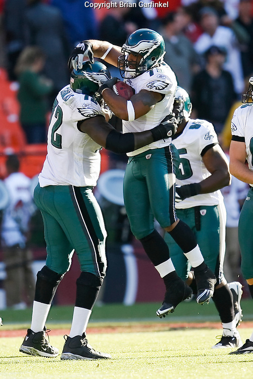 12 Oct 2008: Philadelphia Eagles defensive end Juqua Parker #75 celebrates after an interception and successful run for a touchdown during the game against the San Francisco 49ers on October 12th, 2008. The Eagles won 40-26 at Candlestick Park in San Francisco, California.