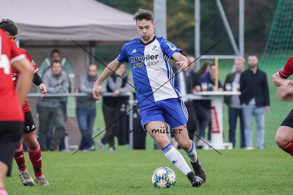 19.10.2019; Niederwil; Fussball 2.Liga - FC Niederwil - FC Sarmenstorf;<br /> Fabio Huber (Sarmenstorf) <br /> (Andy Mueller/freshfocus)