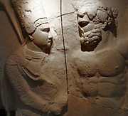 Plaster cast of the upper part of a marble relief.  King Antiochus 1 of Commagene clasps the right hand of Hercules.  Original at Nemrud Dagi, south-east Turkey.