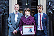 The family of WWII codebreaker Alan Turing deliver Change.org petition to Downing Street signed by almost half a million people <br /> calling for more than 49,000 British gay men convicted under historic anti-gay laws in the UK. <br /> <br /> Turing's relatives Nevil Hunt (great nephew), Rachel Barnes (great niece), Thomas Barnes (great great nephew) delivered the petition to No.10 Downing Street. 23rd February 2015. <br /> Image credit must read:  © Andrew Aitchison / change.org