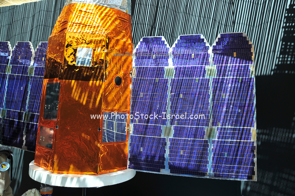 Israel, Hazirim, near Beer Sheva, Israeli Air Force museum. The national centre for Israel's aviation heritage. A model of the Ofeq satellite, (also spelled Offek or Ofek) a series of Israeli reconnaissance satellites first launched in 1988