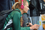 April 4, 2016; Indianapolis, Ind.; Hannah Wandersee listens to music at the team hotel before their game against Lubbock Christian in the NCAA Division II Women's Basketball National Championship game at Bankers Life Fieldhouse.