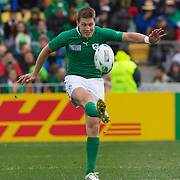"""Ronan O""""Gara, Ireland, in action during the Ireland V Wales Quarter Final match at the IRB Rugby World Cup tournament. Wellington Regional Stadium, Wellington, New Zealand, 8th October 2011. Photo Tim Clayton..."""
