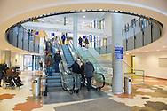 Nederland, Den Bosch, 20160301.<br /> De entree van het ziekenhuis met roltrappen.<br /> Het JBZ Ziekenhuis, Jeroen Bosch Ziekenhuis in Den Bosch. <br /> <br /> Netherlands, Den Bosch, 20160301<br /> The JBZ Hospital, Jeroen Bosch hospital in Den Bosch.<br /> Name of the hospital is shown big on the facade