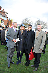 Left to right, HUGH BONNEVILLE, LULU BONNEVILLE, DENISE LEWIS and STEVE FINAN at the 2012 Hennessy Gold Cup at Newbury Racecourse, Berkshire on 1st December 2012