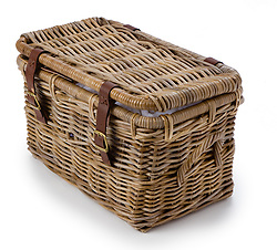 Wicker basket with leather straps
