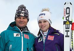 08.01.2012, Weltcupabfahrt Kaernten – Franz Klammer, Bad Kleinkirchheim, AUT, FIS Weltcup Ski Alpin, Damen, Super G, Podium, im Bild ÖSV Damen Cheftrainer Herbert Mandl Anna Fenninger (AUT, Rang 3) // OeSV Headcoach Herbert Mandl and third placed Anna Fenninger of Austria on podium during ladies Super G at FIS Ski Alpine World Cup at 'Kaernten – Franz Klammer' course in Bad Kleinkirchheim, Austria on 2012/01/08. EXPA Pictures © 2012, PhotoCredit: EXPA/ Johann Groder