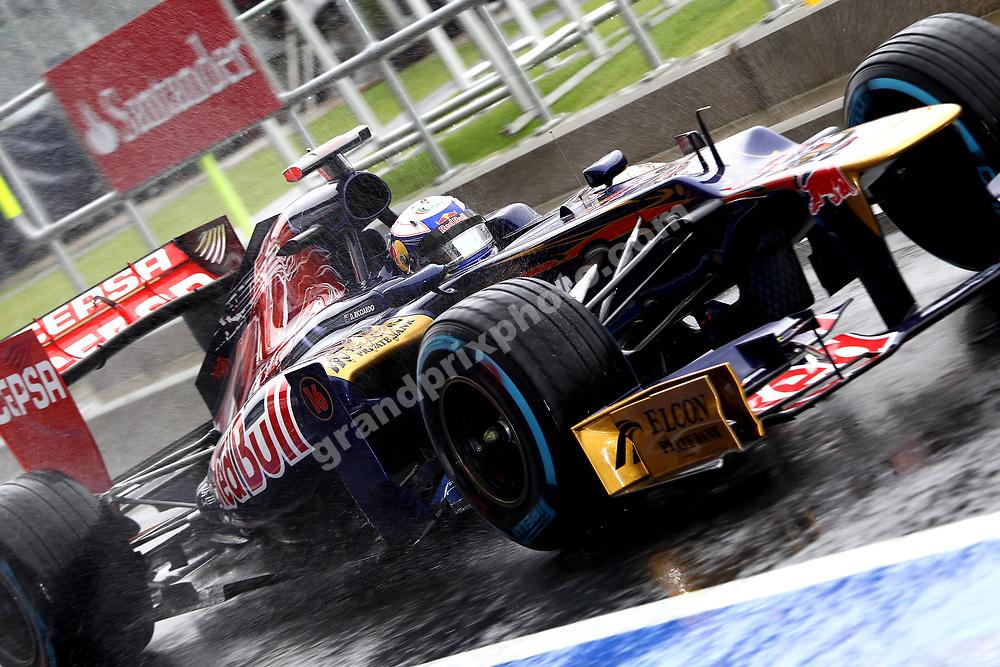 Daniel Ricciardo (Toro Rosso-Ferrari) during wet Friday practice for the 2012 British Grand Prix in Silverstone. Photo: Grand Prix Photo