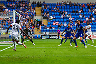 Bournemouth defender Jordan Zemura  (33) crosses into the penalty box during the EFL Sky Bet Championship match between Cardiff City and Bournemouth at the Cardiff City Stadium, Cardiff, Wales on 18 September 2021.