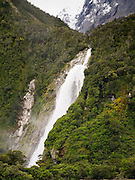 View of Bowen Falls, Milford Sound, Fiordland National Park, New Zealand