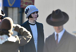 Michelle Dockery on the Downton Abbey film set in Lacock, Wiltshire.