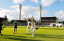Australia's Steve Smith and Shaun Marsh walk off unbeaten at the end of play during day three of the Ashes Test match at the WACA Ground, Perth.