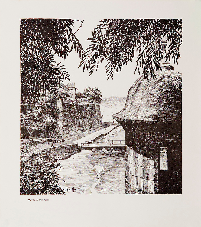 """Cat. #12 -  Lithographic print of Pen and Ink drawing of the old entrance to the city of San Juan, XVI century, seen from the top of the city's wall with one of its emblematic watch towers in the foreground.This print is part of a set of three views of the city's entrance printed on pebbled, light weight stock.<br /> Paper size is 11 1/8 x 12 1/2"""". Image size is approximately 9 x 10 1/2"""" <br /> Cat. #12 - Impresión litográfica de un dibujo a plumilla de la entrada antigua a la ciudad de San Juan, siglo XVI, visto desde la parte superior de la pared de la ciudad, con una de sus emblematicas garitas en primer plano. Esta impresión es parte de un conjunto de tres vistas de la antigua entrada de la ciudad y esta impresa en papel liviano con textura liviana.<br /> Tamaño del papel es 11 1/8 x 12 1/2"""". Tamaño de la imagen es aproximadamente 9 x 10 1/2"""""""