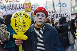 July 18, 2017 - Buenos Aires, Argentina - People and PepsiCo former employees gather to protest against dismissals in Buenos Aires, Argentina. 600 workers were fired as a result of PepsiCo's plant closure in Florida, Buenos Aires. Earlier on July 13 workers who had occupied the plant resisting its closure were evicted by the police with tear gas and rubber bullets. (Credit Image: © Anton Velikzhanin via ZUMA Wire)