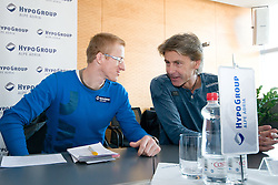 Matic Osovnikar and Albert Soba at press conference of Matic Osovnikar's future plans in his career on October 29, in Hypo Group Alpe Adria, in Ljubljana, Slovenia.  (Photo By Matic Klansek Velej / Sportida.com)