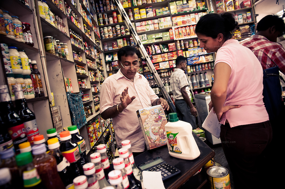 A store in INA market New Delhi. The market is frequented by many foreigners and expats for its variety of imported products.