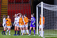 Kirsten Reilly (#8) of Rangers Women FC looking to take advantage of an early corner during the Scottish Building Society Womens Premier League match between Glasgow City Women and Rangers Women at Broadwood Stadium, Glasgow, Scotland on 13 December 2020.