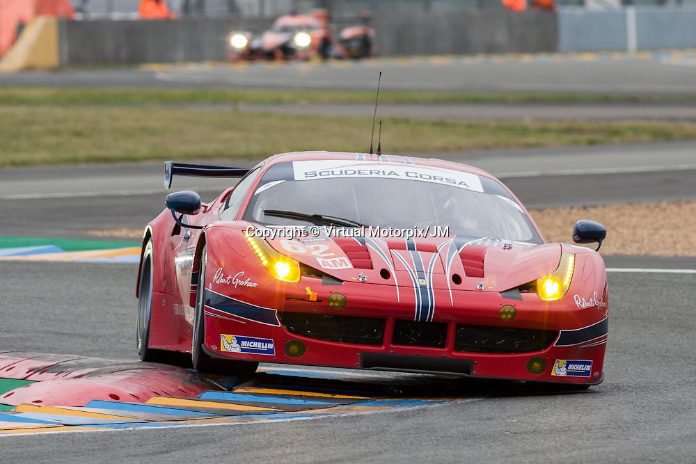 #62 Ferrari F458 Italia, Scuderia Corsa driven by William Sweedler, Townsend Bell, Jeffery Segal, Le Mans 24hr 2015, Test Day
