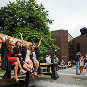"""23.08.2016        <br /> Over 300 students graduated from the Faculty of Arts Humanities and Social Sciences at the University of Limerick today. <br /> <br /> Attending the conferring ceremony were Bachelor of Laws (Law Plus) graduates, Angie Tuohy, Kilfinanne Co. Limerick, Laura Galvin, Killarney Co. Kerry, Kate Dundon, Craughwell, Co. Galway and Slaney Byrne, Carrick on Shore Co. Tipperary. Picture: Alan Place.<br /> <br /> <br /> <br /> <br /> UL Graduates Employability remains consistently high as they are 14% more likely to be employed after Graduation than any other Irish University Graduate<br /> Each year, the Careers Service collects information about the 'First Destinations' of UL graduates. During the April/May period following graduation, we survey those who have completed full-time undergraduate and postgraduate courses for details on their current status. This current survey was conducted nine months after graduation and focuses on the employment and further study patterns of the graduates of 2015. A total of 2,933 graduates were surveyed and a response rate of 87% was achieved. <br /> As the University of Limerick commences four days of conferring ceremonies which will see 2568 students graduate, including 50 PhD graduates, UL President, Professor Don Barry highlighted the continued demand for UL graduates by employers; """"Traditionally UL's Graduate Employment figures trend well above the national average. Despite the challenging environment, UL's graduate employment rate for 2015 primary degree-holders is now 14% higher than the HEA's most recently-available national average figure which is 58% for 2014"""". The survey of UL's 2015 graduates showed that 92% are either employed or pursuing further study."""" Picture: Alan Place"""