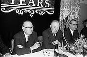 07/02/1963<br /> 02/07/1963<br /> 07 February 1963<br /> Brittain Dublin Ltd. Golden Jubilee reception and Dinner at the Hibernian Hotel, Dublin. Picture shows (l-r): Mr. C. Kingerlee, Private Secretary to Lord Nuffield; Mr. G.C.V. Brittain, Director Brittain Dublin Ltd. and Mr. H.C.R. Mullens, Director, British Motor Corporation Services Ltd.