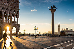 A general view of St Mark's Square at sunrise in Venice. From a series of travel photos in Italy. Photo date: Tuesday, February 12, 2019. Photo credit should read: Richard Gray/EMPICS