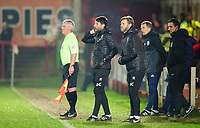 Lincoln City manager Danny Cowley, left, and Lincoln City's assistant manager Nicky Cowley shout instructions to their team from the technical area<br /> <br /> Photographer Andrew Vaughan/CameraSport<br /> <br /> The EFL Checkatrade Trophy Second Round - Accrington Stanley v Lincoln City - Crown Ground - Accrington<br />  <br /> World Copyright © 2018 CameraSport. All rights reserved. 43 Linden Ave. Countesthorpe. Leicester. England. LE8 5PG - Tel: +44 (0) 116 277 4147 - admin@camerasport.com - www.camerasport.com