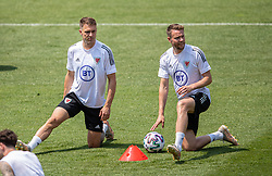 BAKU, AZERBAIJAN - Tuesday, June 8, 2021: Wales' Aaron Ramsey (L) and Chris Gunter during a training session at the Tofiq Bahramov Republican Stadium on day one of their UEFA Euro 2020 tournament. (Pic by David Rawcliffe/Propaganda)