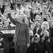 Raleigh, NC - November 7,  2016: Hillary Clinton greets the crowd after her speech inside the Reynolds Coliseum on the campus of North Carolina State. CREDIT: LOGAN R CYRUS
