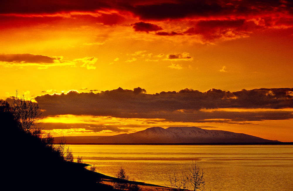 Knik Arm with Mount Susitna (The Sleeping Lady) in background, Anchorage, Alaska USA