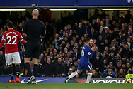 Eden Hazard of Chelsea reacts in frustration. Premier league match, Chelsea v Manchester United at Stamford Bridge in London on Sunday 5th November 2017.<br /> pic by Kieran Clarke, Andrew Orchard sports photography.