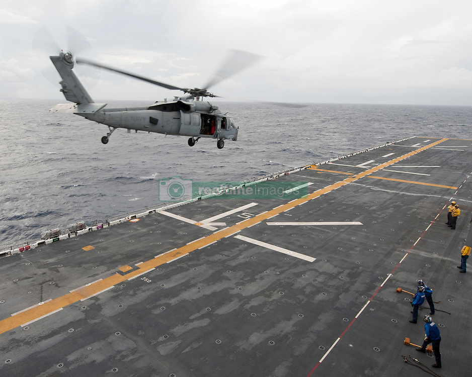 September 7, 2017 - Uss Wasp, PR, United States - A U.S. Navy MH-60S Sea Hawk helicopter departs the USS Wasp en route to the U.S. Virgin Islands in the wake of Hurricane Irma September 7, 2017 near Puerto Rico. Imra is packing winds of 185-mph making it the strongest hurricane ever recorded in the Atlantic Ocean and caused massive devastation in the Virgin Islands. (Credit Image: © Sean Galbreath/Planet Pix via ZUMA Wire)