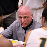 Head Coach Steve Burrows (5th Season) of the Regina Cougars during the Men's Basketball home game on November 24 at Centre for Kinesiology, Health and Sport. Credit: Arthur Ward/Arthur Images