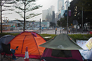 Tents part of the Umbrella Movement and Occupy Central movement outside the Central Government  offices early in the morning.