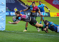 Rugby Union - 2020 / 2021 Gallagher Premiership - Round Nine - Harlequins vs Leicester Tigers - The Stoop<br /> <br /> Andre Esterhuizen, of Harlequins, goes over to score a try for his Harlequins team<br /> <br /> <br /> <br /> COLORSPORT/DANIEL BEARHAM