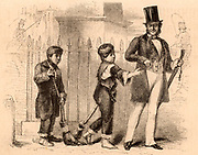 Boy crossing sweepers.  Both adults and children of the poorest classes tended particular road crossings and, for payment, would sweep the road of dirt and horse droppings so that pedestrians could cross without getting their feet dirty.   Engraving from 'London Labour and the London Poor' by Henry Mayhew (London, 1861).